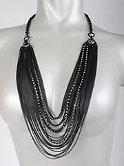 Gorgeous Layers of Black Beads and Rhinestones Chain Necklace - Bridesmaid, Wife, Girlfriend, Mothers Gift