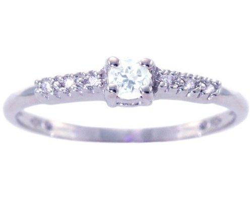 14K White Gold Petite Round Gemstone and Diamond Promise Ring-White Topaz, size5