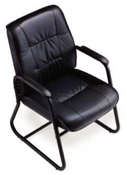 "Eurotech Leather High-Back Side Chair - 17-1/2"" Seat Height - Black"