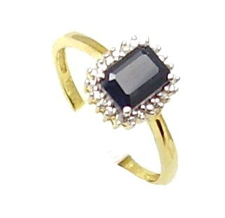 18ct Gold Plated Silver Black Sapphire & Diamond Emerald Cut Engagement Ring