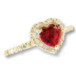 14k Yellow Gold, Heart Design Promise Engagement Ring with Lab Created Red Colored Center Stone