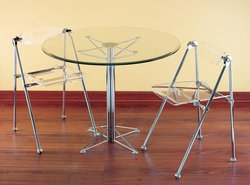 Buy Low Price Chrome Contemporary Glass Top Round Table (DT-DINETTE TBL)