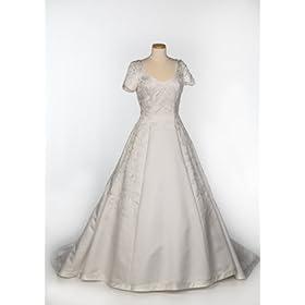 White Satin Cap-Sleeve Wedding Gown