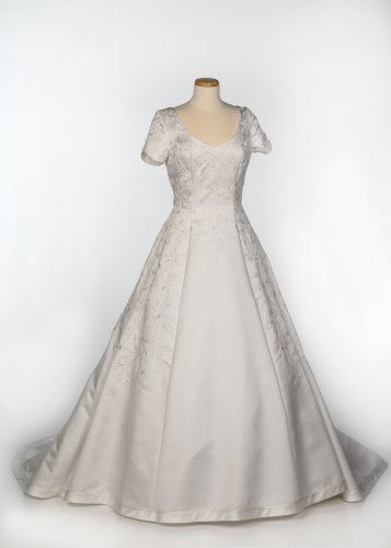 White Satin Cap-Sleeve Wedding Gown