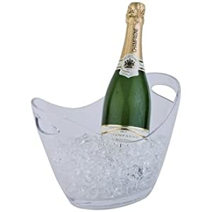 Clear Acrylic Wine / Champagne Ice Cooler Bowl Bucket - Holds Up To Two Bottles by Sussex Supplies