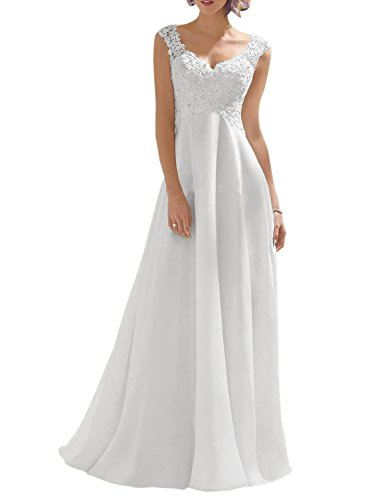 Luokadress Women's V-neck Sleeveless Lace Beaded Wedding Dress Evening Dress White US 8