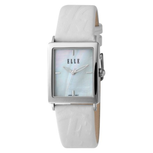 ELLETIME Women's EL20026S01C Steel Mother Of Pearl White Dial White Leather Strap Watch