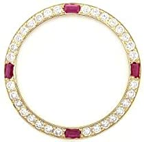 Ladies 1ct Bead Set Diamond Bezel 18ky with 4 Rubies