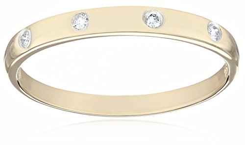 10K Yellow Gold Diamond Band (0.05 Cttw I-J Color, I2-I3 Clarity), Size 7