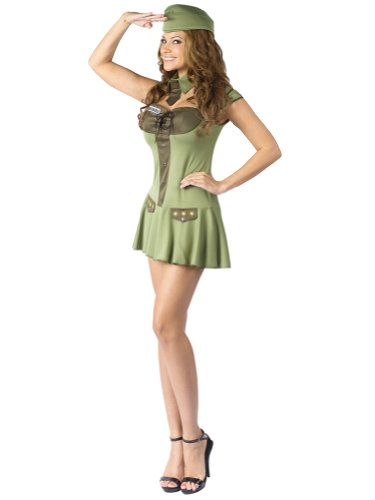 Sexy Military Costume Army Uniform Costume Green Mini Dress