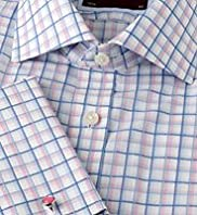 "2"" Shorter Luxury Sartorial Pure Cotton Overchecked Shirt"