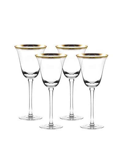 10 Strawberry Street Set of 4 Windsor Gold Banded Red Glasses, Clear/Gold