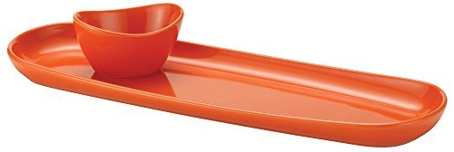 Rachael Ray Stoneware Baguette Tray with Dipping Cup, Orange by Rachael Ray