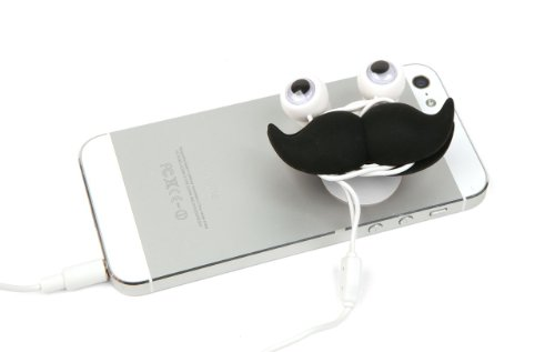 Kikkerland Us47 Mustache Earbuds, Stand And Cord Wrap - Retail Packaging - Black