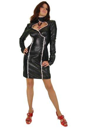Erogance Lederkleider Mini Kleider Minikleid Domina aus Nappa Leder, Langarm in Gr. 36 SW83