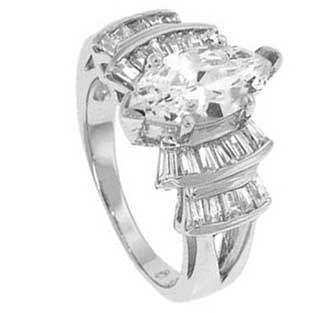 Sterling Silver Engagement Ring Wirh Marquise Cubic Zirconia With Four Prongs in Bar Setting