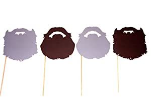 Duck Dynasty Beards - Fully Assembled - Set of 4 Photo Booth Props on a Stick