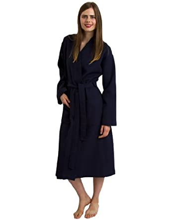 TowelSelections Turkish Waffle Bathrobe Kimono Spa Robe for Women and Men Made in Turkey Small/Medium Navy