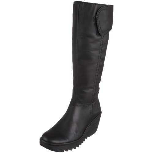 Fly London Women's Yuly Knee High Boot Leather Black P500179000 6 UK