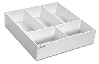 "TrippNT 50068 White PVC Plastic 4"" Extra Deep Drawer Organizer, 5 Compartments, 17.5"" Width x 4"" Height x 19.5"" Depth"