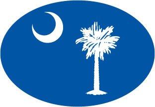 SOUTH CAROLINA FLAG (BLUE) Oval Bumper Sticker (South Carolina Bumper Sticker compare prices)