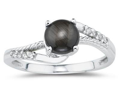Black Star Sapphire and Diamond Ring in White Gold