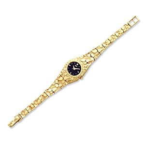 IceCarats Designer Jewellery 10Ct Black 22Mm Dial Nugget Watch In 7 Inch