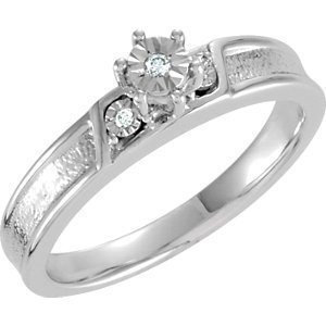 Sterling Silver .03 CTW Diamond Illusion Engagement Ring Size 8