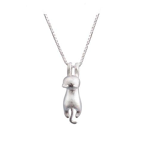 sleaf-s925-sterling-silver-cat-necklace-matte-silver-cat-pendant-collarbone-necklace