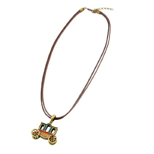 Rosallini Bronze Tone Rhinestone Decor Car Shape Pendant Necklace