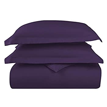Hotel Luxury 3pc Duvet Cover Set-1500 Thread Count Egyptian Quality Ultra Silky Soft Top Quality Premium Bedding Collection-Queen Size Eggplant