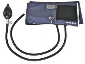 Cheap Inflation System: Two-Tube Bladder, Deluxe Valve, Bulb, Navy Nylon Cuff, Adult, Latex (21-207-184)