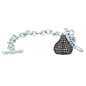 Hershey's Kiss Chocolate Diamond Toggle Bracelet 14k White Gold (7.05ct)