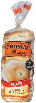Thomas' Plain 6 Pre-Sliced Bagels 20 oz (Pack of 6)