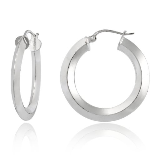 Sterling Silver Knife-Edge Hoop Earrings (1.0