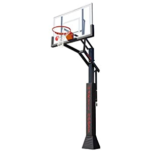 Harvil H2 Adjustable In-Ground Basketball Hoop with 72in Glass Backboard WITH FREE PADDING