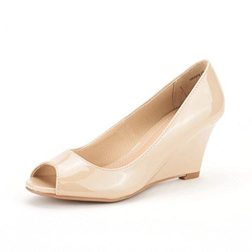 DREAM PAIRS CELESTE Women's Elegant Classic Open Toe Mid Heel Wedge Heel Pumps Shoes New