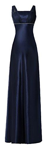 Satin Chiffon Holiday Bridesmaid Long Formal Gown Crystals Junior Plus Navy Medium