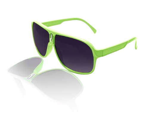 Peach Couture® Over-Sized Wayfarer Style Sunglasses With Thick Colorful Frame (Lime Green)
