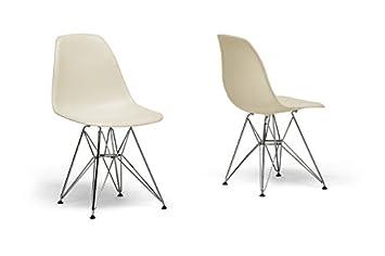 Baxton Studio Beige Plastic Side Chair with Chanasya Polish Cloth Bundle (Set of Two)