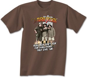 Three 3 Stooges REAL MEN Funny Adult Brown T-shirt Tee Shirt, Medium