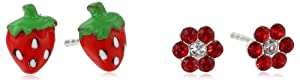 Kate+%26+Lucy Kate & Lucy Girls' Sterling Silver Enamel Flower and Strawberry Stud Earrings Set
