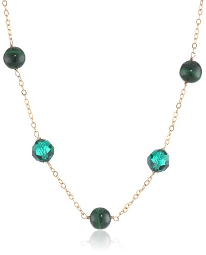 """Gold-Plated Sterling Silver, Malachite, and Green Swarovski Elements Station Necklace, 18"""""""