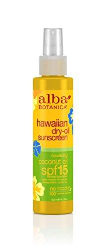 Alba Botanica Hawaiian, Coconut Dry Oil  Sunscreen SPF 15, 4.5 Ounce