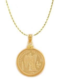 20 Franc Lucky Angel Rooster Gold Filled Coin Bezel frame mount Pendant
