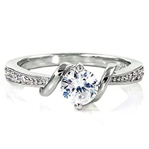 Womens Sterling Silver Entwined Love Russian Ice on Fire Simulated Diamond CZ Promise Friendship Ring, sz 7.0