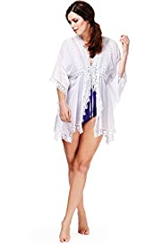 Plus Pure Cotton Floral Crochet Kaftan Cover-Up
