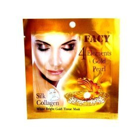 4 Packs Facy 4 Elements Gold Pearl Silk Collagen White Bright Gold Tissue Mask Amazing Of Thailand
