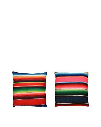 Uptown Down Set of 2 Found Mexican Blanket Pillows, Orange/Multi