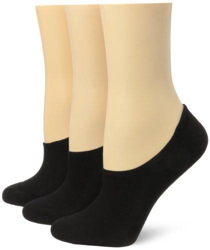 Hue Women's Air Sleek Liner 3 Pack Athletic Socks, Black, One Size